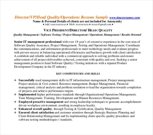 operations executive resume template download