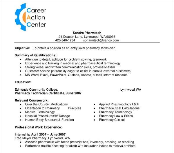 pharmacy technician resume entry level