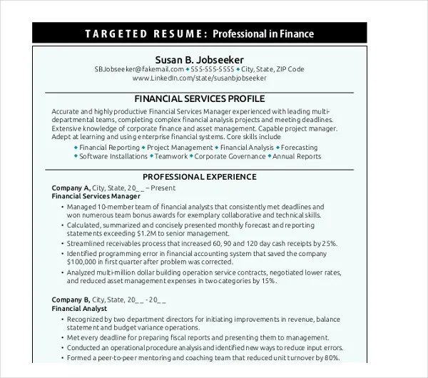 20 Finance Resume Templates  PDF DOC  Free  Premium