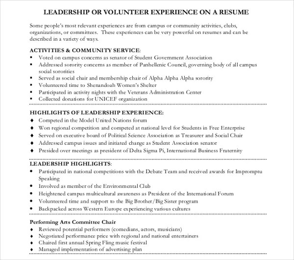 10 Volunteer Resume Templates PDF DOC Free & Premium