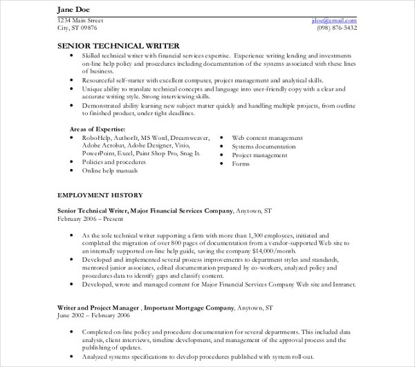 10 Technical Writer Resume Templates  PDF DOC  Free  Premium Templates