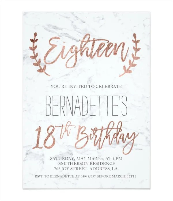 14 18th Birthday Invitation Designs & Templates PSD AI