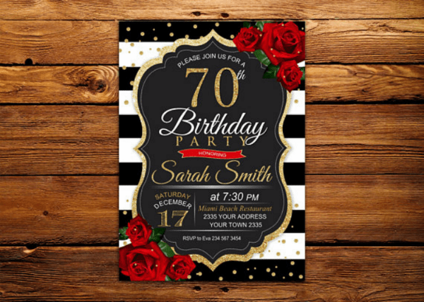 70th birthday invitation card templates