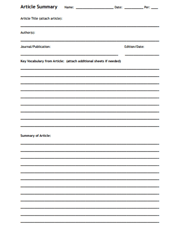 free newspaper article template for students