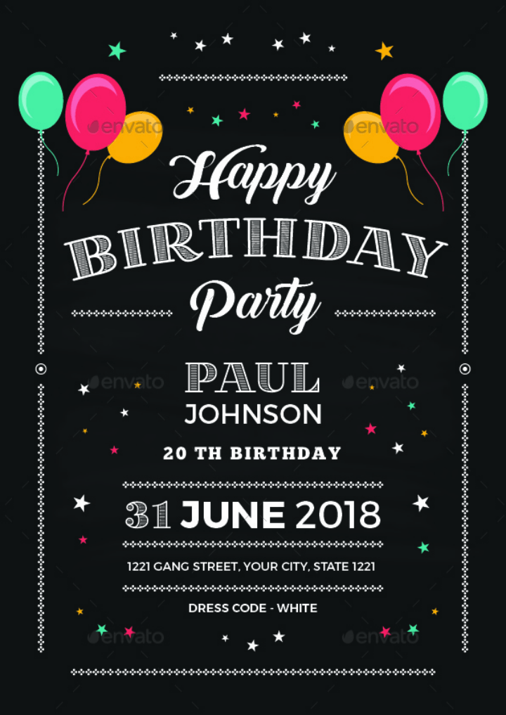 14+ Creative Chalkboard Birthday Invitation Templates