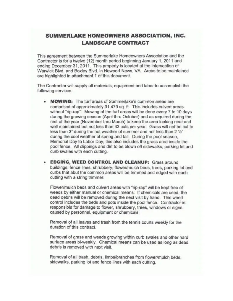 Landscape Contract Sample