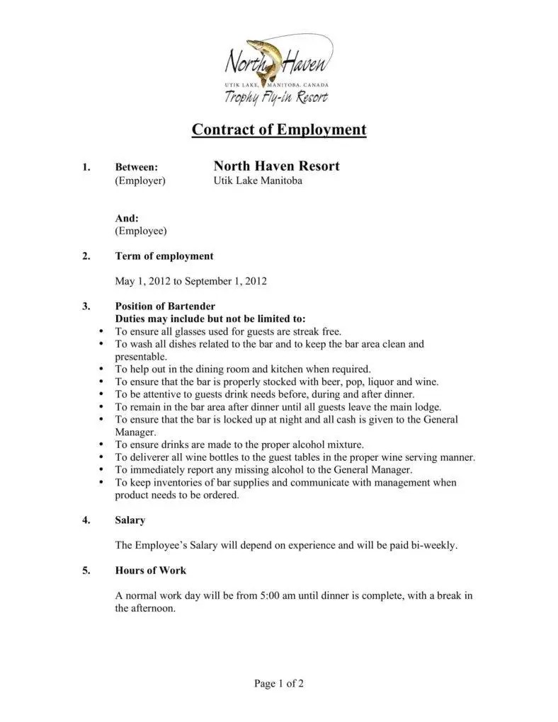 Contract Of Employment For Bartender