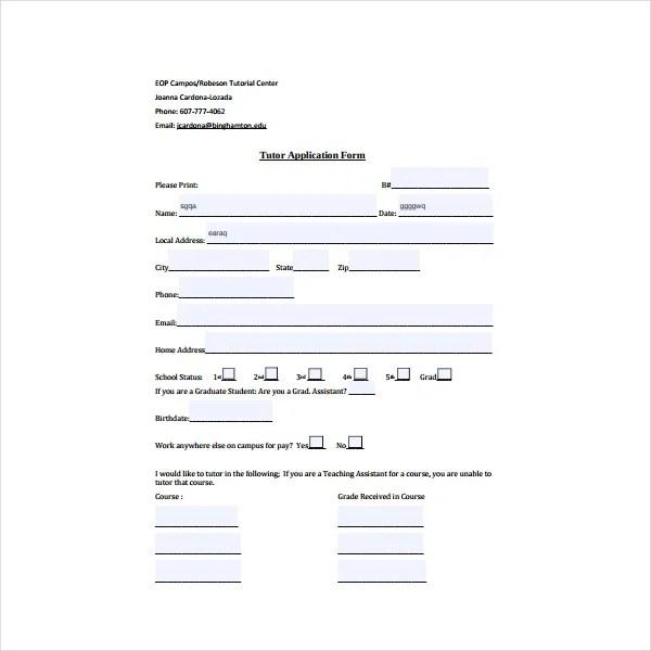 5 Tutor Application Form Templates PDF Free Premium Templates