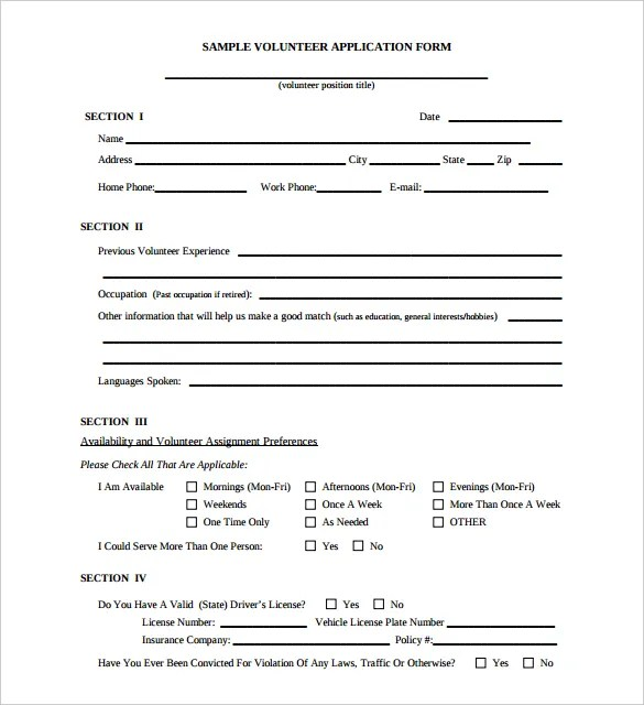5 Volunteer Application Form Templates PDF Free