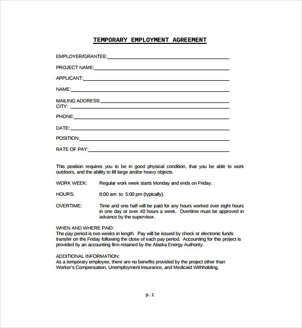 8 Temporary Employment Contract Templates Word Pages Docs Free Amp Premium Templates