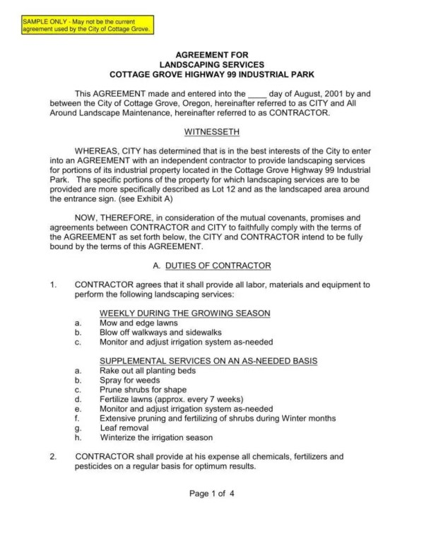 8 landscaping services contract