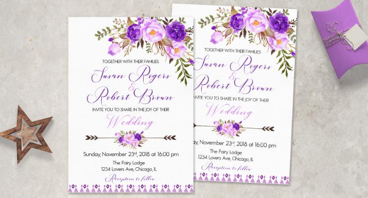 10 purple invitation templates psd