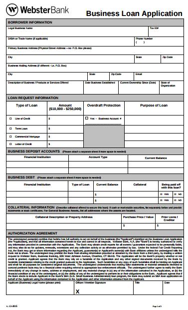 9 Business Loan Application Form Templates  PDF  Free  Premium Templates