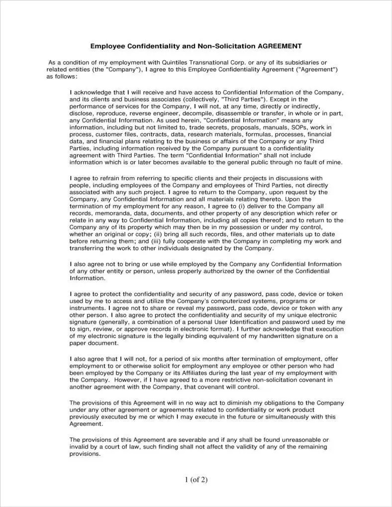 5+ Employee Confidentiality Agreement Templates in PDF | Free ...