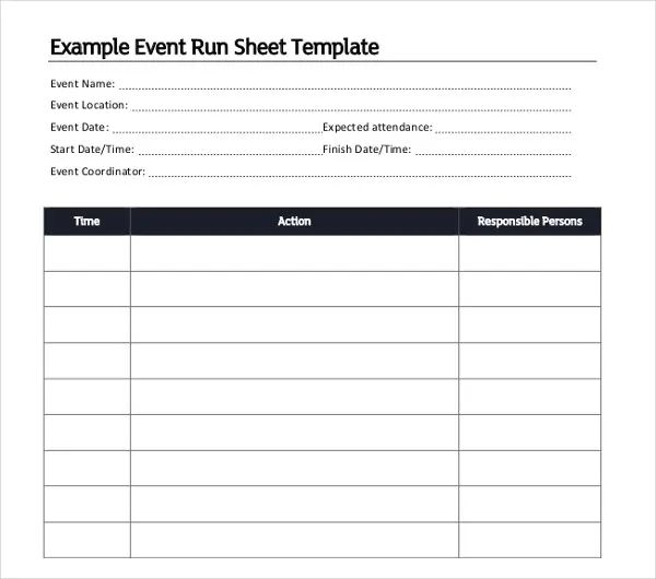 conference run sheet template