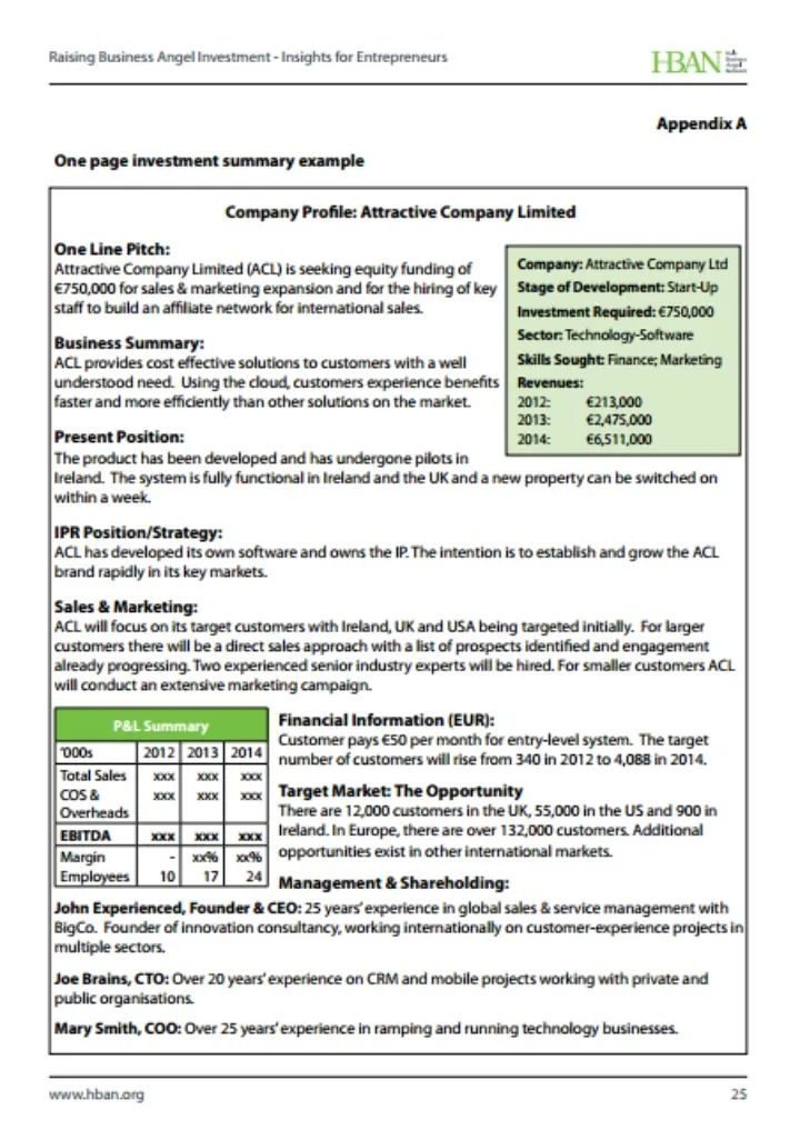 executive summary sample template