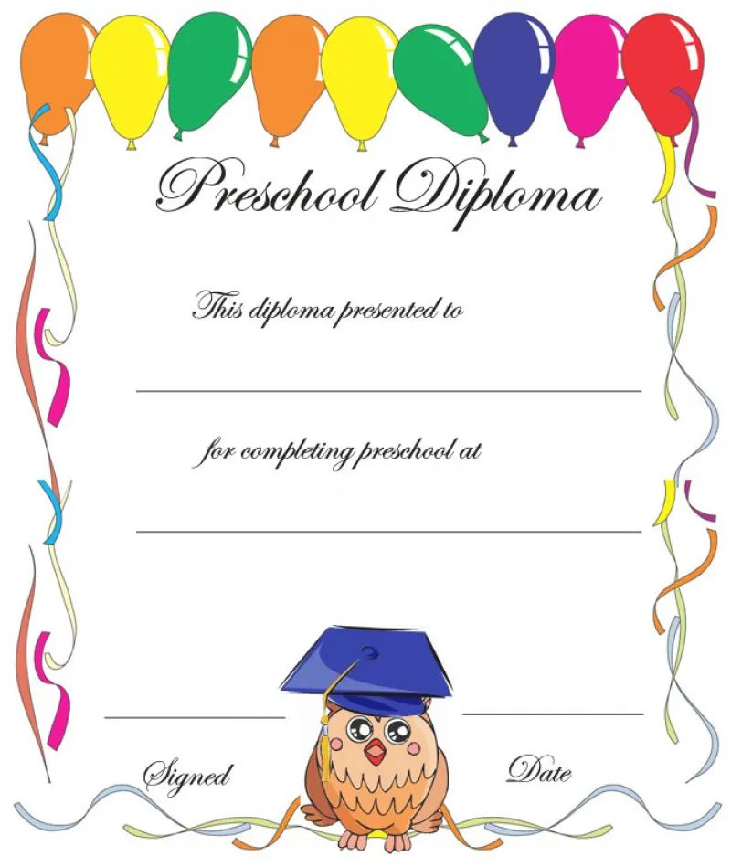 kindergarten diploma printable