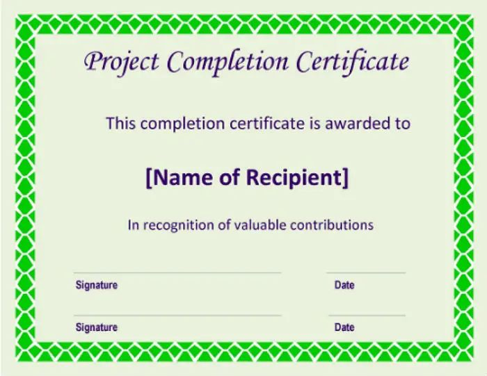 certificate for completion of project