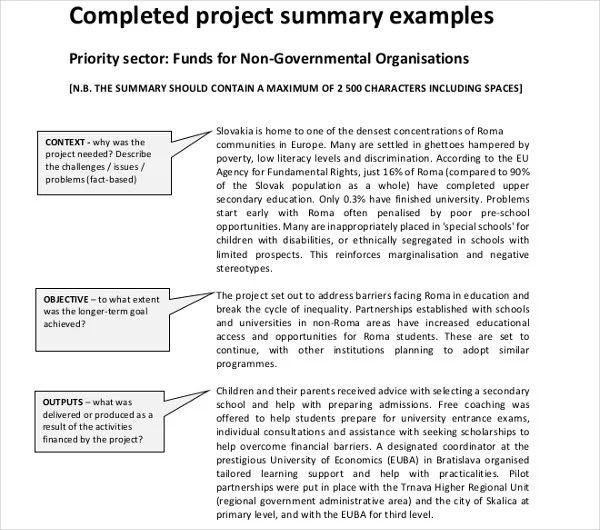 good executive summary example