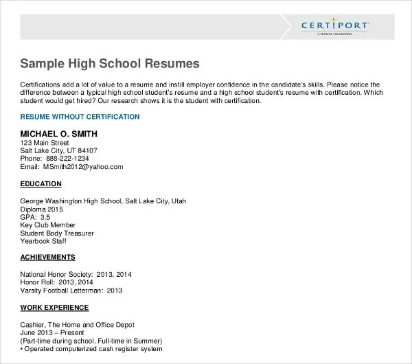 10 High School Student Resume Templates PDF DOC Free