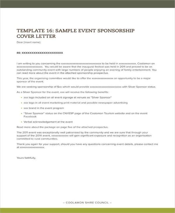 Sponsorship Letter For Event Templates