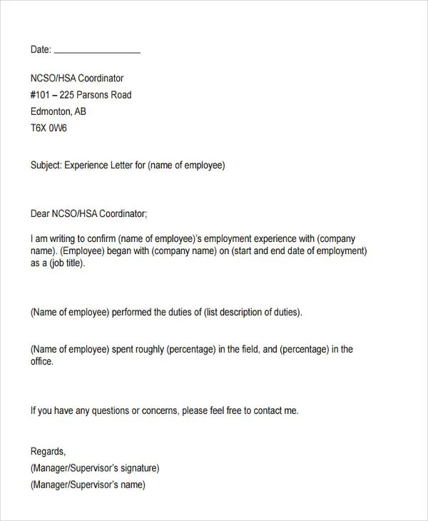 9 Work Experience Letter Templates PDF Free & Premium