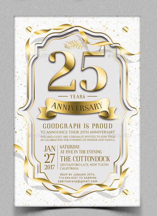 3 25th anniversary invitation card