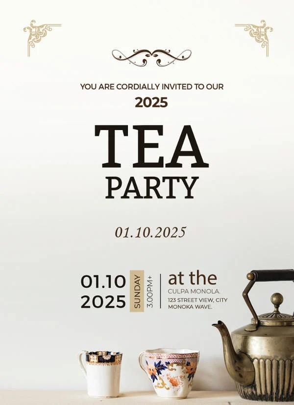 41 Tea Party Invitation Templates  PSD AI  Free  Premium Templates