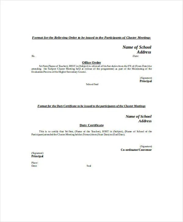 20 Relieving Letter Format Templates PDF DOC Free