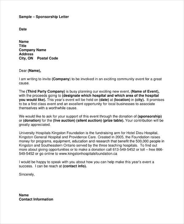 17+ Sample Sponsorship Letter Templates - PDF. DOC. Apple Pages. Google Docs | Free & Premium Templates