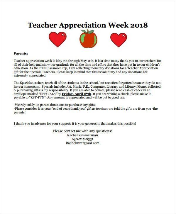letter of appreciation templates