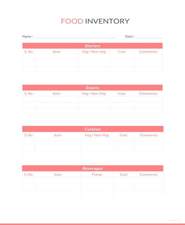 13+ Food Inventory Templates - DOC, PDF | Free & Premium Templates