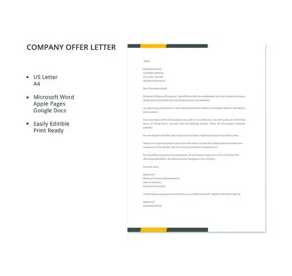 Company Offer Letter Template 10