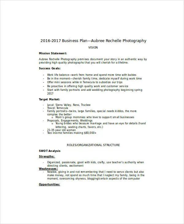 wedding photography business plan pdf