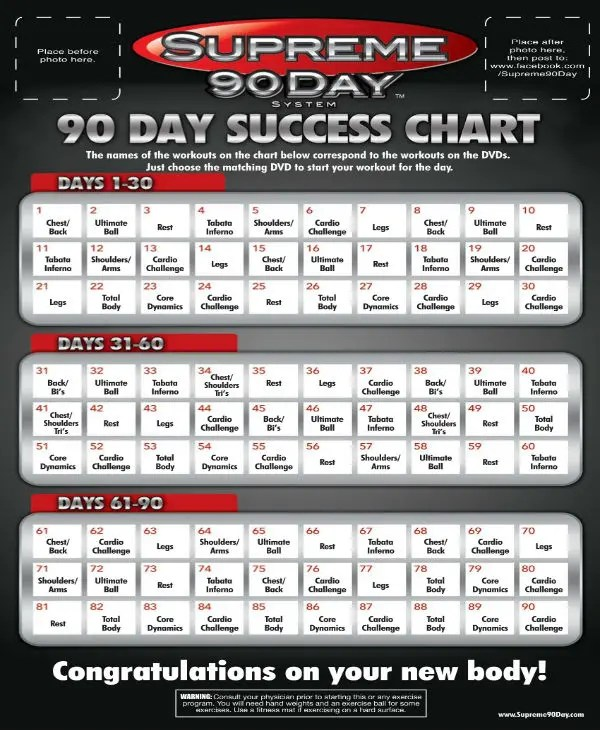 Supreme 90 Day Workout Calendar : supreme, workout, calendar, Supreme, Workout, Download, WorkoutWalls
