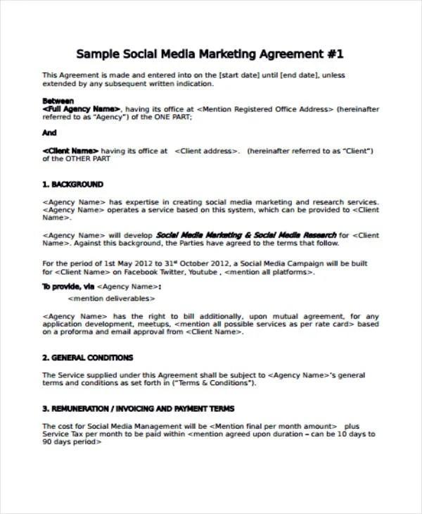 5+ Restaurant Social Media Marketing Agreement Templates - PDF   Free & Premium Templates