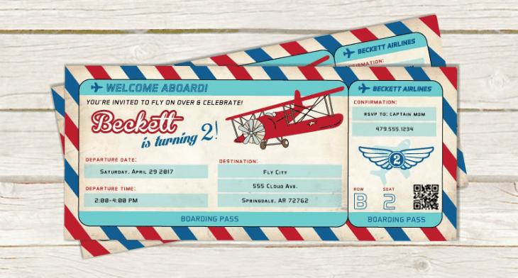 airplane ticket invitation template