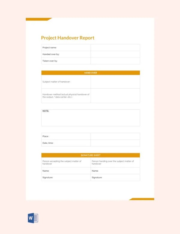 FREE 30+ Handover Report Templates in MS Word   PDF   Google Docs   Pages   Free & Premium Templates