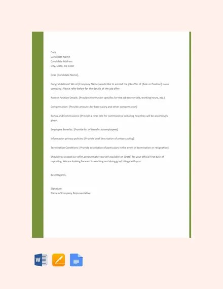 Formal Job Offer Letter Or Email Letter Sample Talentlyftcounter