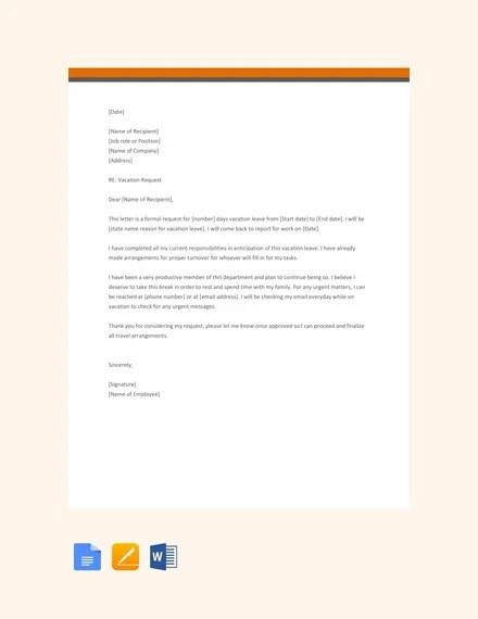16 Vacation Letter Templates Pdf Doc Free Premium Templates