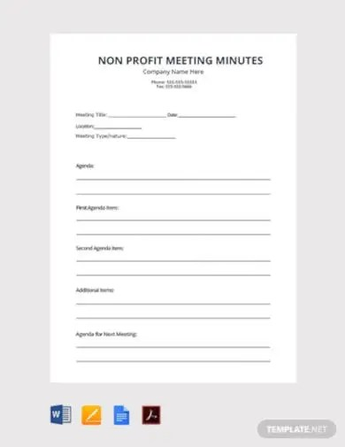 Board meeting agendas set the tone for how engaging and productive your meetings will be. 6 Non Profit Meeting Minutes Templates In Pdf Word Google Docs Pages Free Premium Templates
