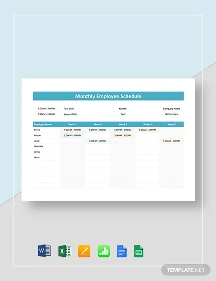 11/05/2018· a monthly calendar schedule may be used for home or for work. Employee Schedule Template 14 Free Word Excel Pdf Documents Download Free Premium Templates