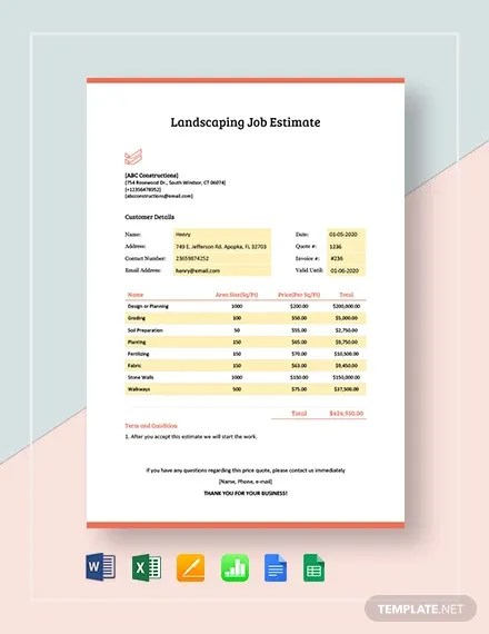 Example Landscaping Estimate