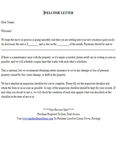10 Tenant Welcome Letter Templates  PDF  Free  Premium