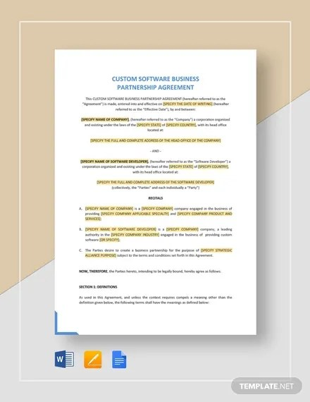 Then write down the start date and the expected completion date. 11 Business Partnership Agreement Templates Word Pdf Apple Pages Google Docs Free Premium Templates