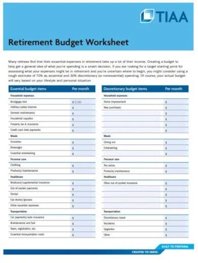 sample retirement budget