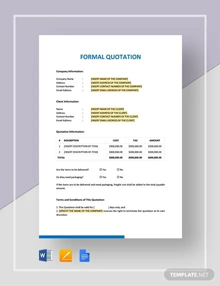Quotation Letter Adalah : quotation, letter, adalah, Formal, Quotation, Template, Word,, Google, Premium, Templates