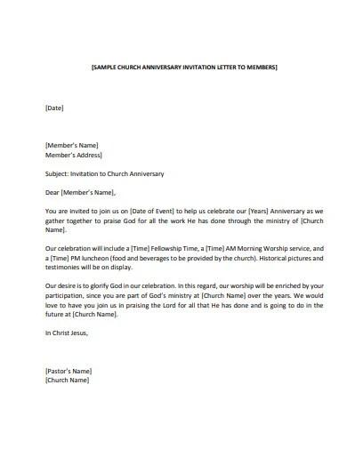 10 church invitation letter templates