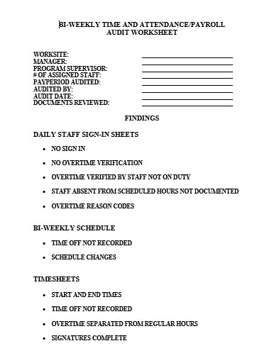 10 Audit Worksheet Templates In
