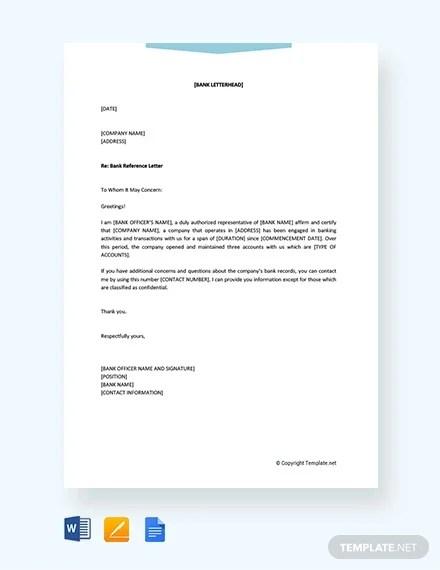 10 Sample Bank Reference Letter Templates Pdf Doc Free Premium Templates